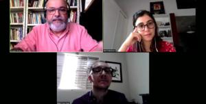 """Antonio de Assis, Marília Conill Marasciulo e Rafael Ferraz durante o painel """"Notícia contra o ódio: A importância do jornalismo no combate ao preconceito"""""""