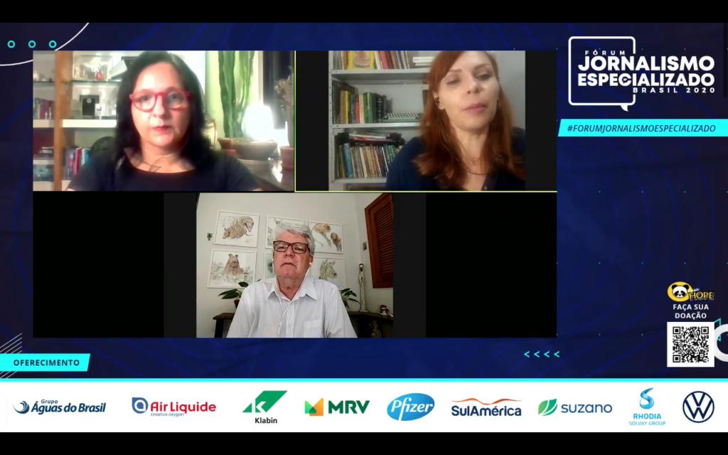 Maristela Crispim, Juliana Arini e Dal Marcondes durante participação no 3º Fórum de Jornalismo Especializado, com o painel Notícia sem eco: Os desafios na cobertura dos desastres ambientais no Brasil em 2020