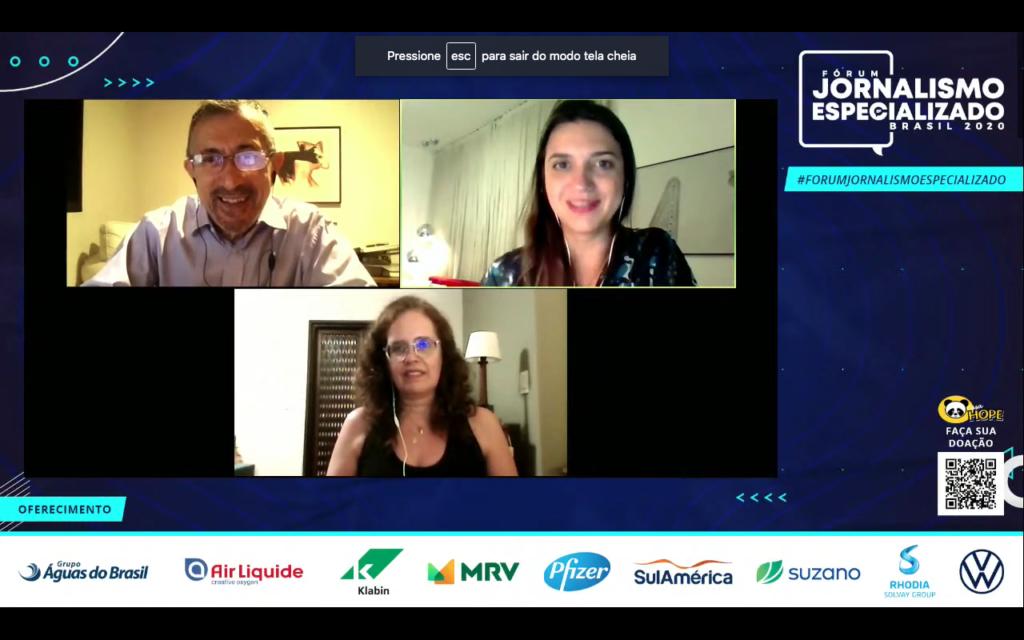 """Edimilson Cardial, Renata Cafardo e Marta Avancini durante o painel """"Quem ensina faz ao vivo? O enfoque da mídia no ano em que a educação foi obrigada a se reinventar"""""""